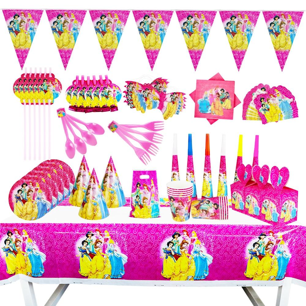Новинка, Disney Six Princess Theme, Детский пакет для дня рождения, вечерние чашки, тарелки для детского душа, одноразовые принадлежности для посуды