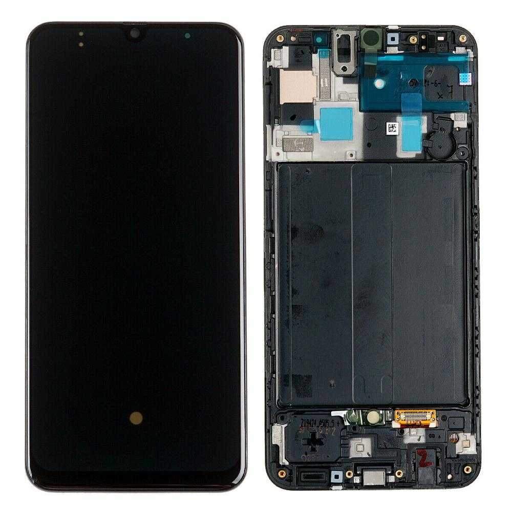 For Samsung Galaxy A50 SM-A505 LCD Screen Display Touch Digitizer With Frame Assembly Black Original LCD For Samsung A50 A505