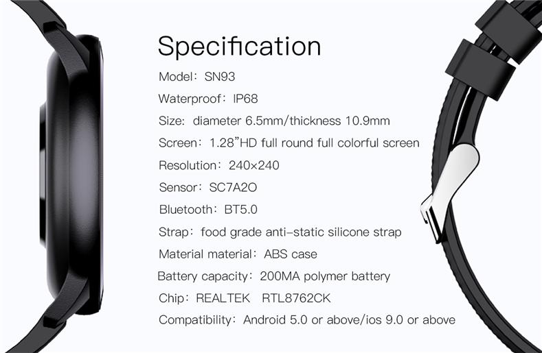 Sn93 relógio inteligente iwo série 6 tela