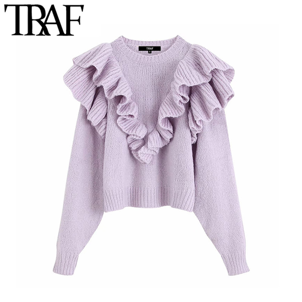 TRAF Women Vintage Sweet Ruffled Short Style Knitted Sweater Fashion O Neck Long Sleeve Stylish Pullovers Puff Femme Chic Tops