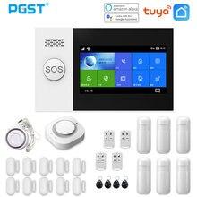 PGST – Système d'alarme avec capteur de mouvement PIR, fonctionne avec Tuya, avec détecteur de fumée d'incendie, écran de 4,3 pouces, WIFI, GSM, GPRS, anti-cambrioleur, sécurité de la maison, PG107