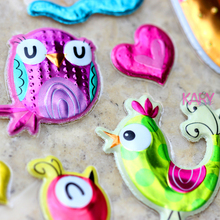 Kids Toy Bubble-Stickers Easter Birds Sparkle Scrapbooking Reward for Children Owls Gift