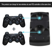 цена на 2 in 1 Dual charging dock charger for Sony PlayStation3 Wireless controller for PS3 controller Hot Worldwide for ps3 charger