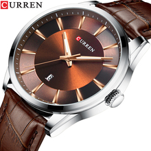 лучшая цена CURREN Fashion Casual Sports Watches Date Function Modern Design Analog Quartz Wrist Watch Brown Genuine Leather Band Male Clock