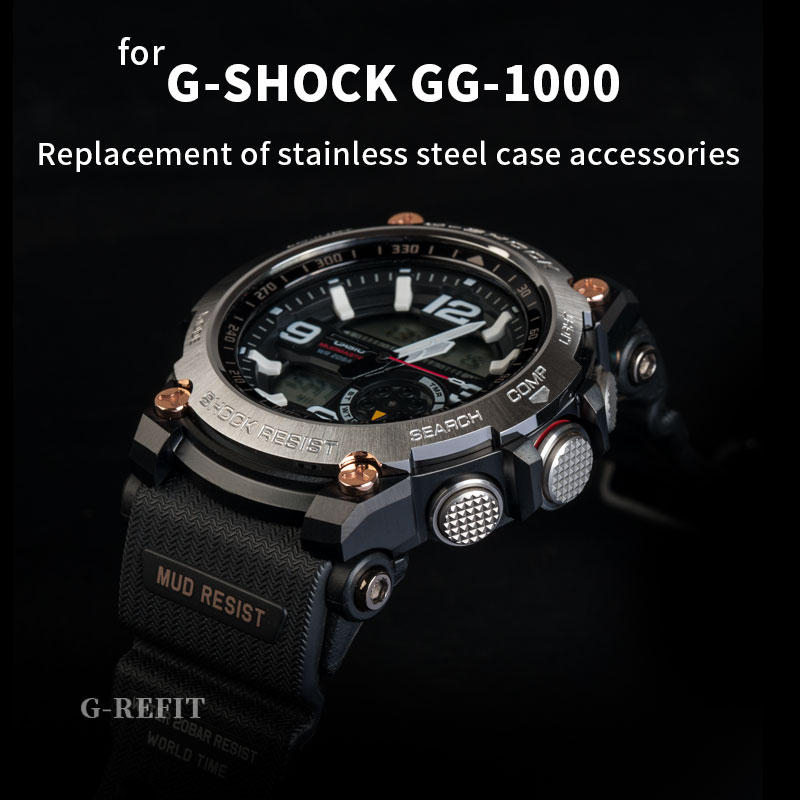 G-Refit <font><b>GG1000</b></font> Little mud stainless steel watchband case/bezel 1000mm g-shock Solid metal strap Free tools image