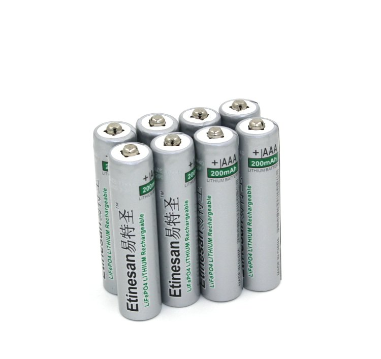 3.2V 10440 AAA 200mAh LiFePO4 lithium li-ion LiFePO4 Rechargeable Batteries image