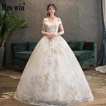 Wedding Dress New The Brdial Elegnat Boat Neck Ball Gown Off The Shoulder Princess Luxury Bling Bling Wedding Dresses