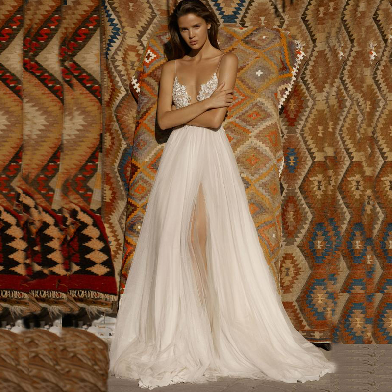 ADLN Sexy V-neck Sleeveless Wedding Dresses Backless Spaghetti Straps Beading Applique Chiffon/ Tulle Wedding Dress For Bride