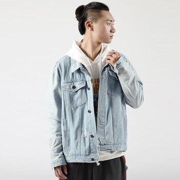 Denim Jacket Men's Spring Men's Denim Jacket Loose Hole Korean Trendy Light Blue Slim Denim Jacket Size S-XXXL фото