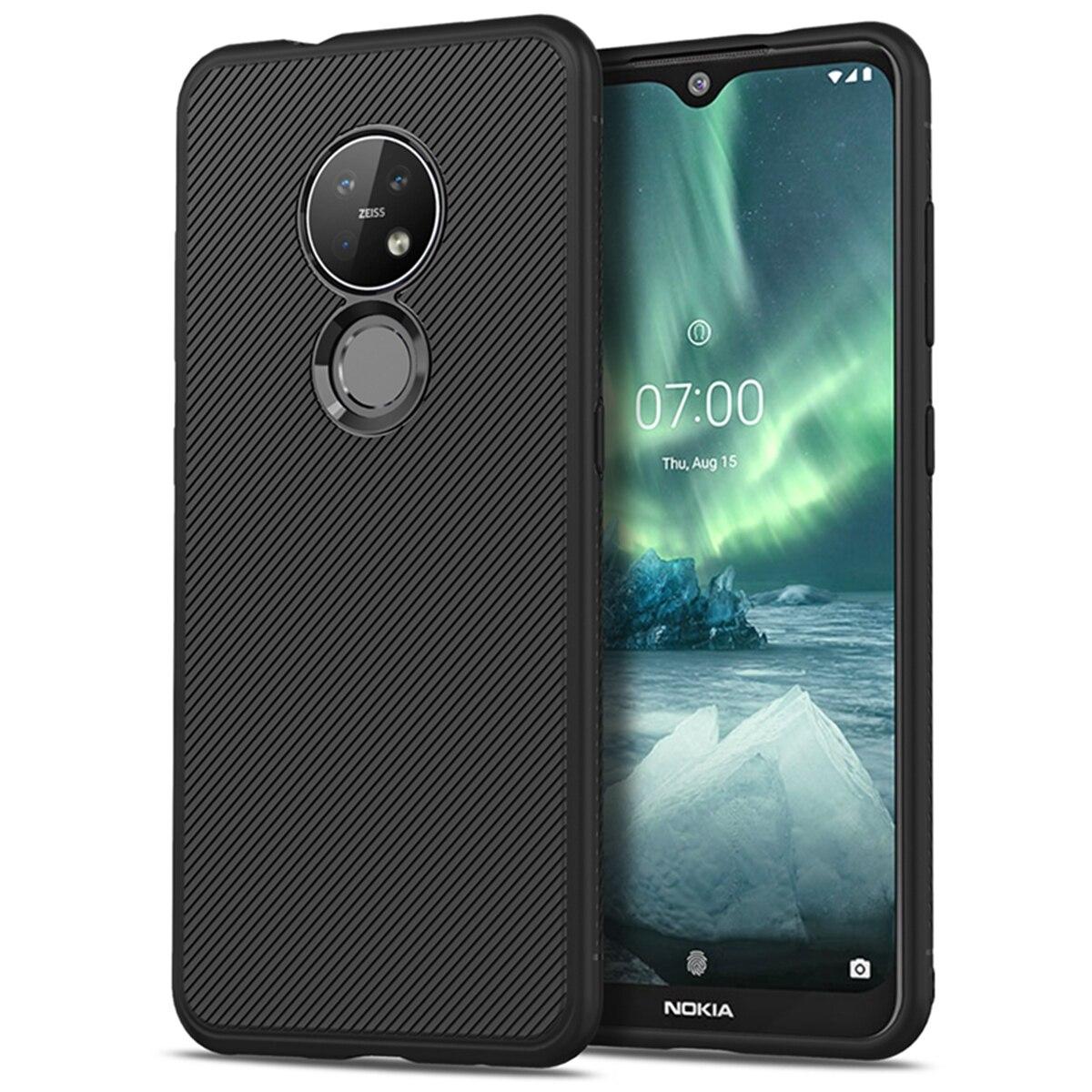 For Nokia 7.2 6.2 Case Silicone Slim Non-Slip Texture Carbon Fiber Soft TPU Back Cover For Nokia 7.2 Case Funda Shockproof
