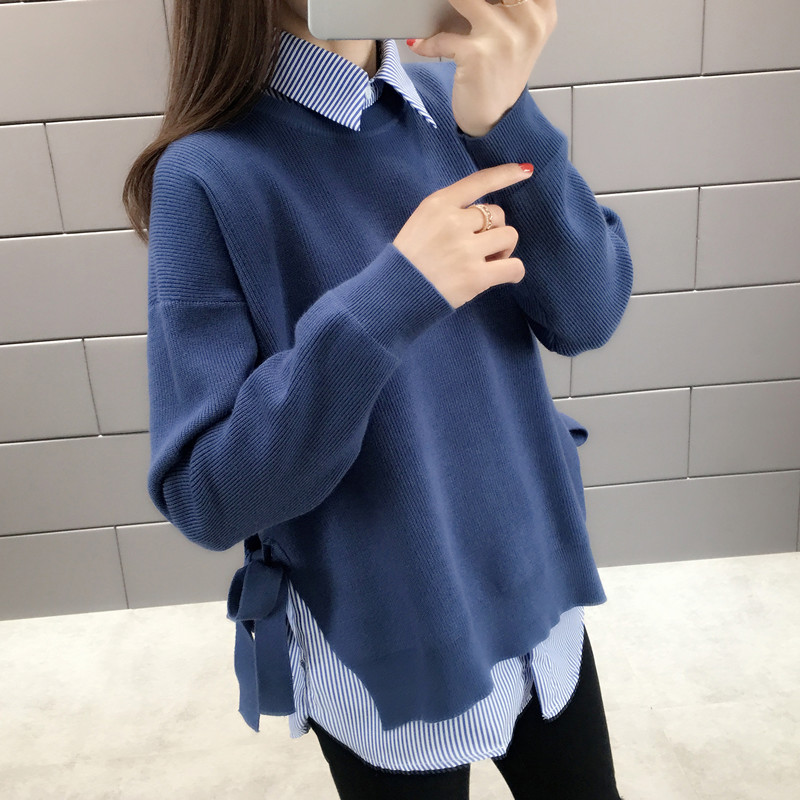 False Two Pieces Knitted Women Sweaters And Pullvoers Solid Loose Preppy Style Casual All Match Outwear Coat Tops