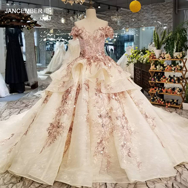 LS32521 off shoulder ball gown evening dress v neck lace up v back formal party dress with long train and peplum 2018 new design