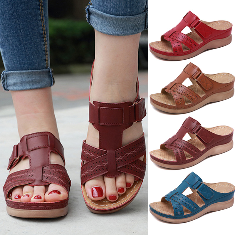 Sandals Vintage Women Shoes Orthopedic Open-Toe Summer Breathable Anti-Slip Premium