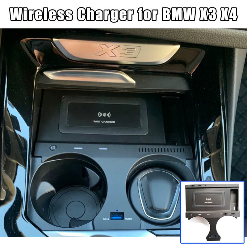 QI wireless Car fast charging For BMW X3 G01 X4 G02 2018 2019 2020 wireless charger mobile phone plate accessories adapter