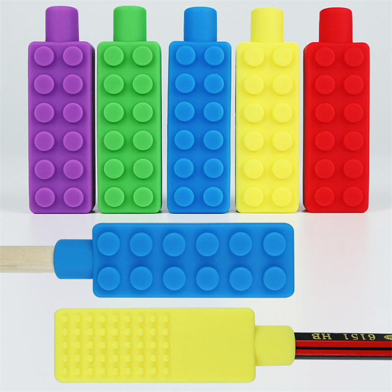 Hot Sale 1PCS Silicone Brick Pen Topper Chewable Pencil Toppers Baby Teethers Kids Sensory Toy Food Grade Silicone Beads Gifts