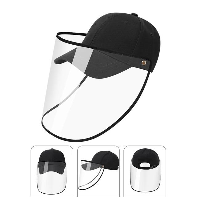 Detachable Transparent Face Shield Full Face Protection Baseball Hat  Visor Anti-saliva Unisex Cap Dropshipping