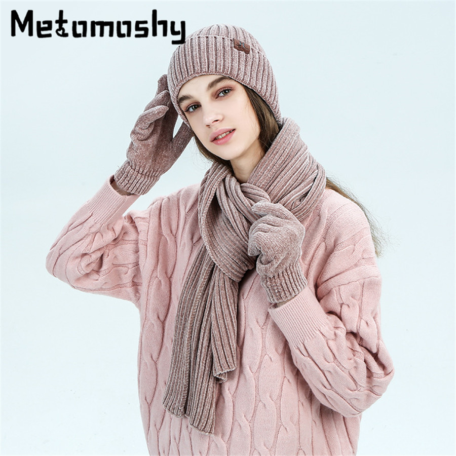 2019 Winter Accessories 3 Pcs Knitted Hat Scarf Gloves Set For Women Men Warm Ears Knit Skullies Beanies Female Hats For Girls