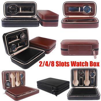 Przenośny PU Leather 2 4 8 Slot Watch wyświetlacz schowek na okulary organizator zegarków uchwyt Zipper wykwintne i trwałe do kochanka D25 tanie i dobre opinie KEMANQI Moda casual 18cm Nowy z metkami 270037 Rectangle Sztucznej skóry Skóra 200001555 200001555