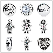 new 1pc only you dad family forever mom boy girl love DIY bead jewelry Fit Pandora Charms Bracelet for women EL195(China)