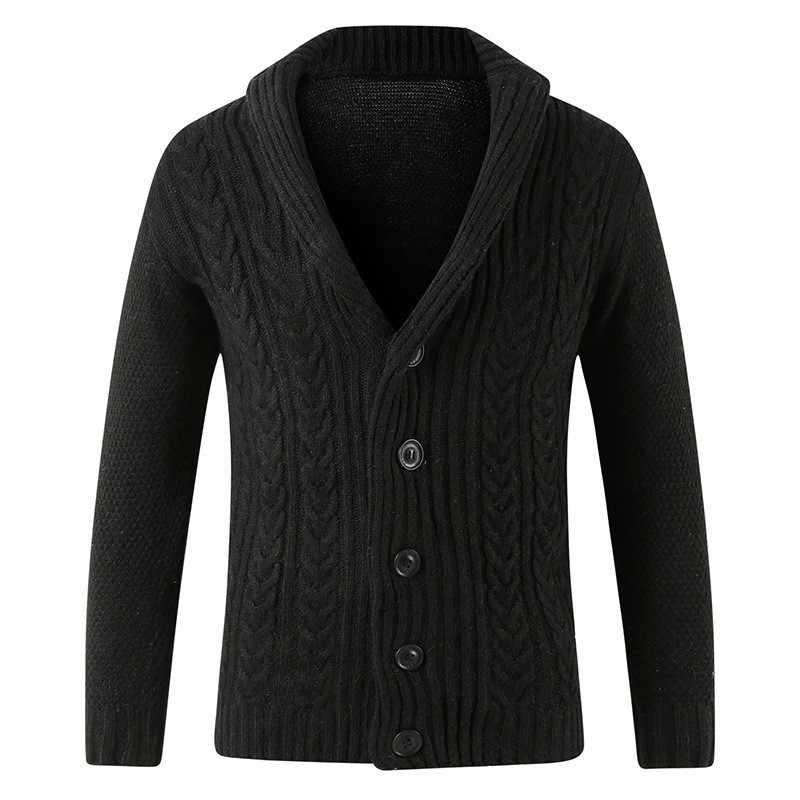 Vendita Calda 2020 Mens Maglione Cardigan di Colore Solido Monopetto Maglieria Outwear Il Cappotto Del Maglione a Maniche Lunghe Slim Fit Lavorato a Maglia Cappotti