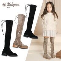 Children's Girls Boots 2019 Autumn Winter Girls Knee High Boots Girl Princess Children High Kids Shoes Bota Kids Black Brown Red