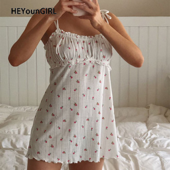 HEYounGIRL Floral Printed Sleeveless Spaghetti Strap Dress Summer White A Line Short Dresses Ladies Ruched Tie Up Casual Dress guidecraft dress up cubby center white