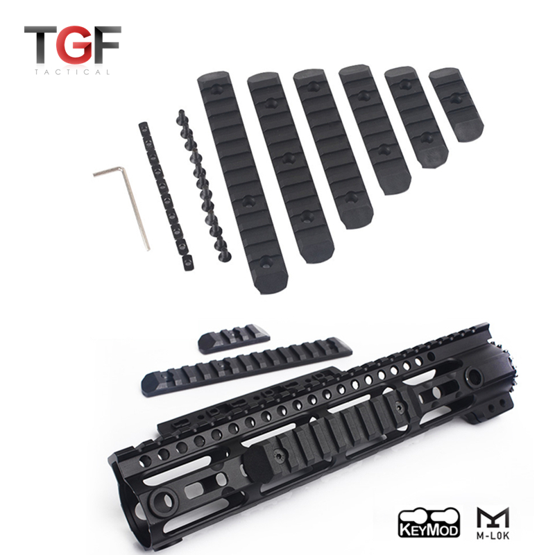 Tactical KeyMod&M-LOK Polymer Rail Set (6 Pcs) Picatiny Rails Cover Weaver Rail Mount Adapter