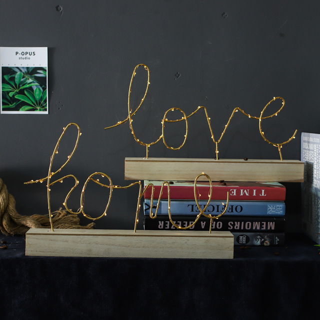 Home Decorative Figurines Ornaments LED Lamp Light LOVE Letters Living Room Bedroom Layout Decoration Valentine's Birthday Gift 2