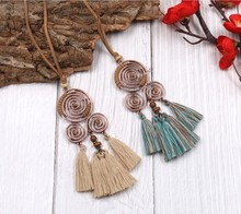 Ethnic Vintage Copper Whirl Spiral Pendant Necklace Cotton Tassel Necklace Faux Suede Chain Jewelry For Women Boho Accessories stylish faux gem bird flower ananas tassel necklace for women