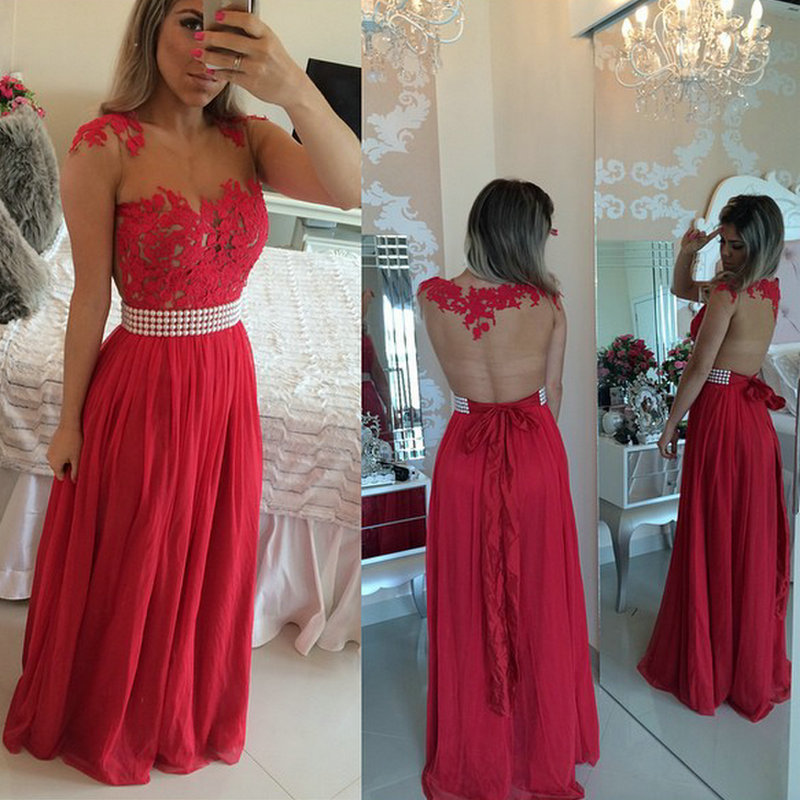 Chiffon And Lace Appliques Long Red Formal Sleeveless O-neck A-line Abendkleider Long Party Prom Gown 2018 Bridesmaid Dresses