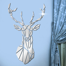 цена на 3D mirror wall stickers ins acrylic creative wall stickers Nordic deer head living room bedroom background wall decoration