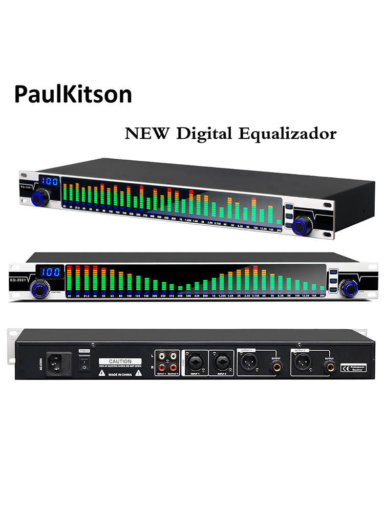 Paulkitson NEW Dual 31 Bands Equalizer Audio  Digital Equalizador Profesional Sound System Stage Home Karaoke Musical Instrument