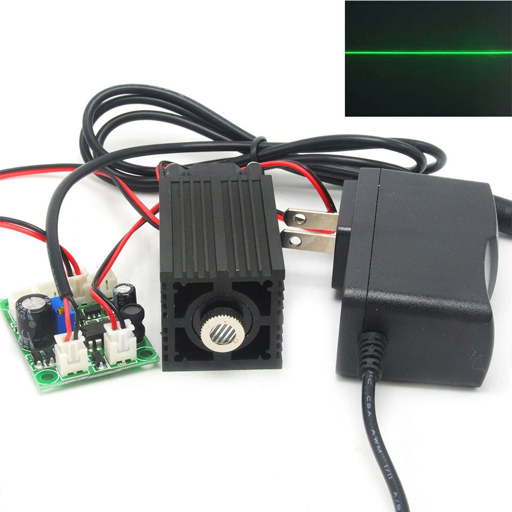 532nm 100mW Green Line Light Focusable Laser Diode Module 12V Adapter Fan Driver TTL