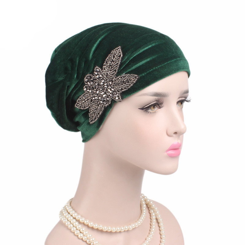 Soft Velvet Turban Hat Muslim India Cap Women Elegant Beaded Flower Beanie Chemo Cap For Cancer Hair Loss Ladies Bonnet Femme