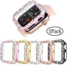 Coque antichoc rigide plaquée pour Apple Watch série 5 4 3 2 1 38MM 42MM, cadre de protection scintillant en cristal scintillant