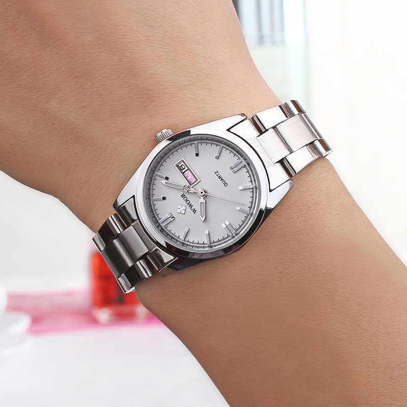 Montre Femme 2021 WWOOR אופנה גבירותיי שעונים עמיד למים קוורץ כסף שעון נשים אוטומטי תאריך שמלת שעון יד Reloj Mujer