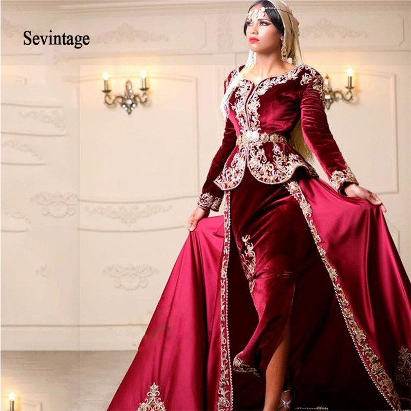 Sevintage Long Sleeves Karakou Algerian Outfit Mermaid Evening Dresses Lace Appliques Muslim Formal Prom Gowns Vestidos De Gala