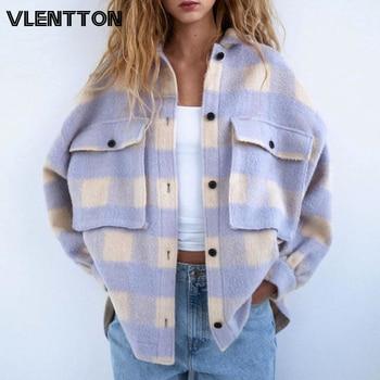 Autumn Winter Oversize Women Vintage Plaid Wool Shirts Jackets Coat Chic Pockets Loose Outwear Tops Streetwear Overcoats Female 1
