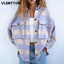 Осень зима больших размеров для женщин в винтажном стиле; Клетчатые
