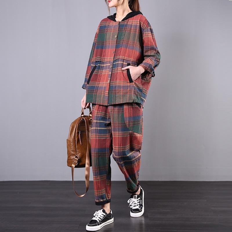 2pcs Per Set Cotton Linen Plaid Womens Clothing Loose Hooded Casual Wear + Pants
