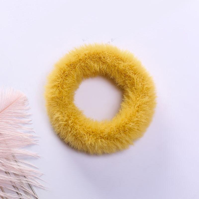 Мягкая Плюшевая повязка для волос резинки для волос натуральный мех кроличья шерсть мягкие эластичные резинки для волос для девочек однотонный цветной хвост резинки для волос для женщин - Цвет: 1