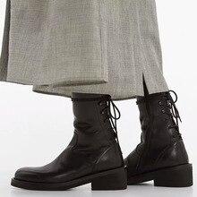 Vintage Autumn Women Chelsea Boots Round Toe Lace-up Platform Female Ankle Boots Chunky High Heel Ladies Boots British Style цена в Москве и Питере
