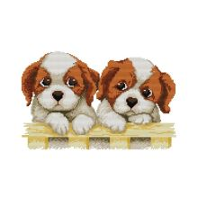 DIY Hand Knitting Print Cross Stitch Set Embroidery 11CT Two Puppy Patterns 46 * 32cm Home Decoration