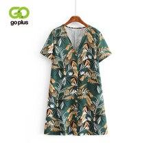 GOPLUS Dress Women Vintage Sexy V-neck Print Buttons Short Sleeve Summer Mini Dresses 2019 Beach Party Ropa Mujer Vestido C7522