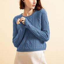 100% кашемировый свитер для женщин плотный пуловер с круглым