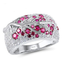 Hot Sales Fashion Flower Rings Women Party Luxury Ring for Red Zircon Branches Jewelry