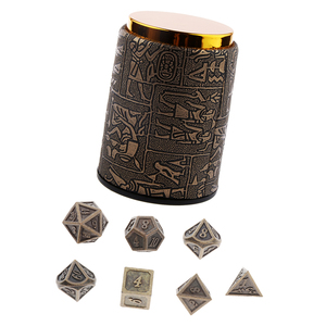 7 Pieces DND Dice Set with Dice Cup - Metal Polyhedral Dice Sets for Dungeons and Dragons for RPG Gaming (14mm)
