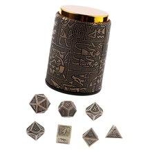 7 штук игральные кости DND набор с чашка для игры в кости-металла многогранные кости наборы для ролевых игр (14 мм)