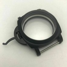 44mm Black Scratch-Resistant Mineral Glass Brushed Case Watch Replacement Accessory Part For ETA 6497 6498 Seagull ST36 Movement(China)