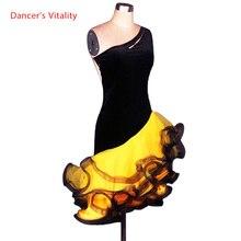 Costume de danse latine pour femmes, robe de compétition de danse latine, en velours, sexy, sans manches